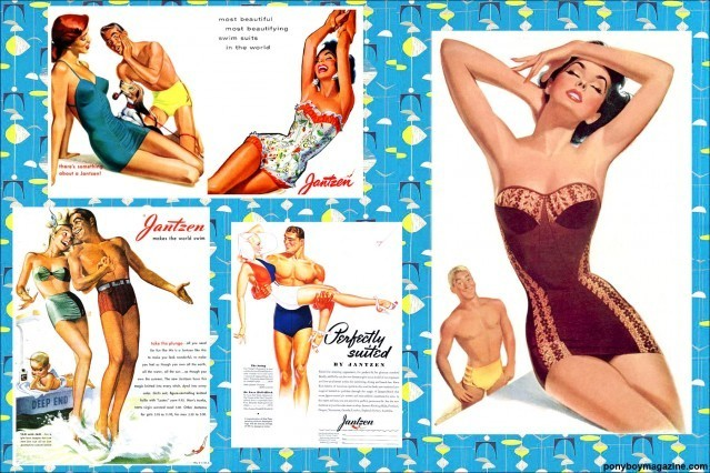 The Lost Art of vintage swimsuit ads in Ponyboy Magazine.