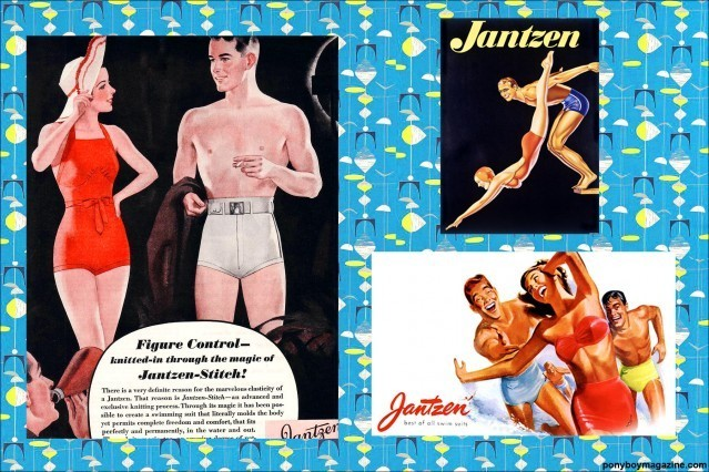 Beautiful vintage swimsuit ads for Ponyboy Magazine.
