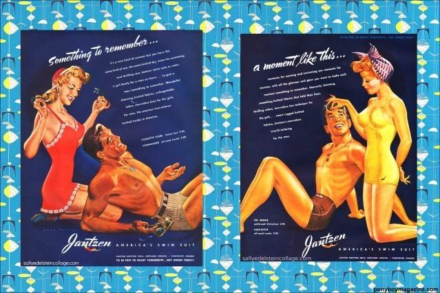 Beautiful vintage swimsuit ads for Ponyboy Magazine.
