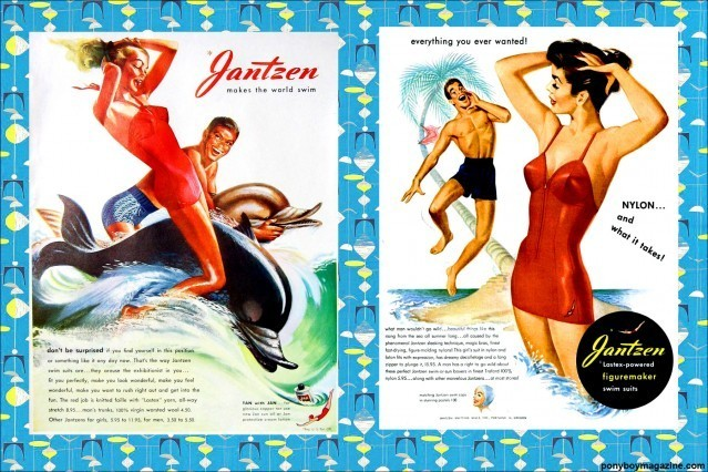 Beautiful artwork. Vintage swimsuit ads for Jantzen swimear, for Ponyboy Magazine.