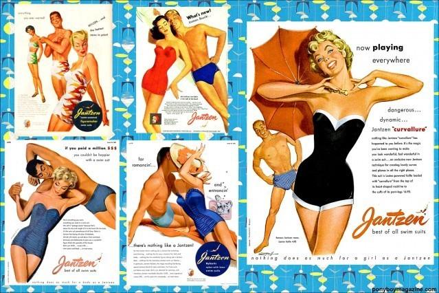 More colorful vintage Jantzen Swimsuit ads for Ponyboy Magazine.