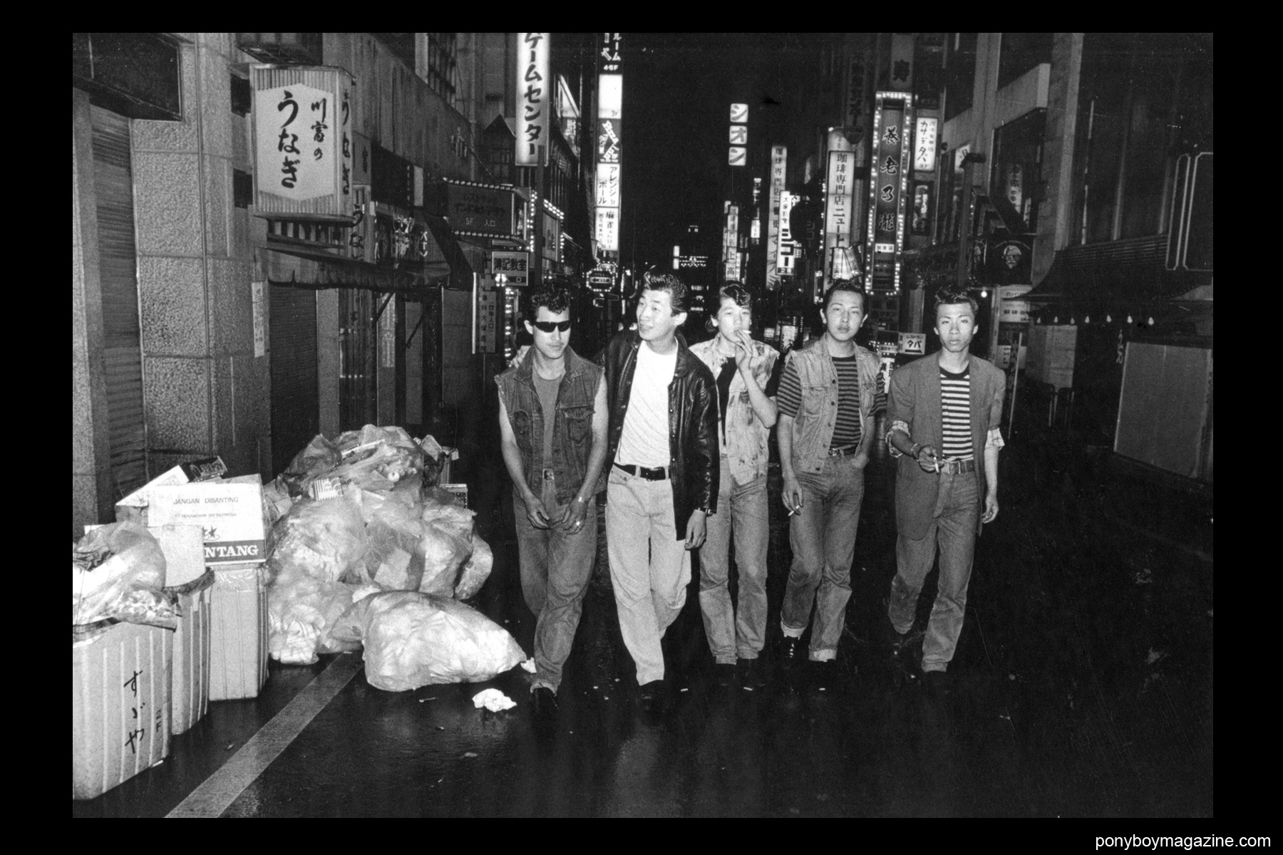 A group of gang members in the 1960's photographed by Watanabe Katsumi in the book Gangs of Kabukicho.