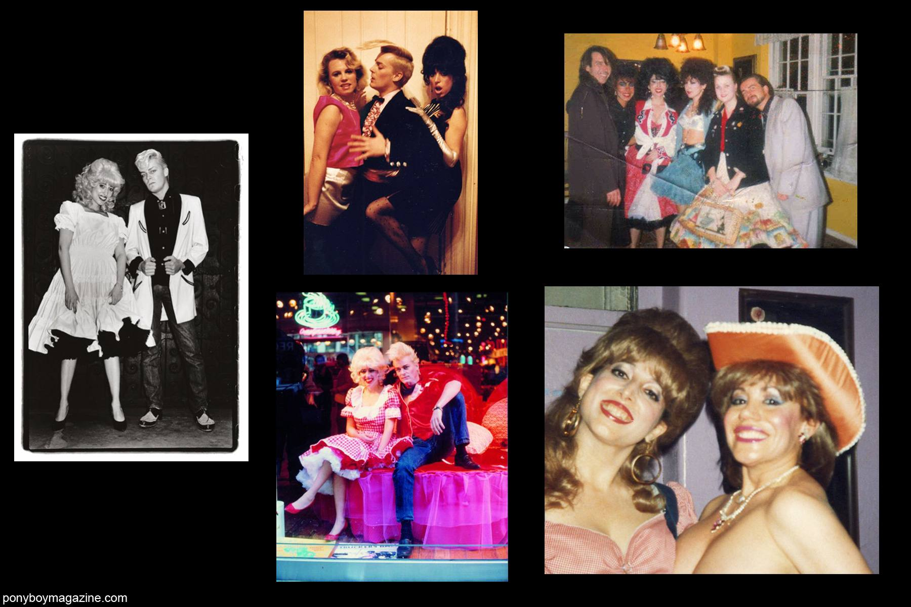 Various old photos of 80's performance artist Katy K with John Sex and Kitten Natividad for Ponyboy Magazine.