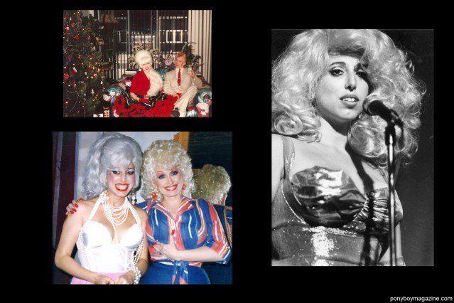 Old photos of designer/performer Katy K, including Dolly Parton for Ponyboy Magazine.