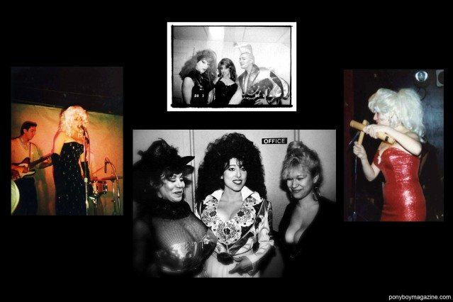 Photos from the 1980's of downtown performer Katy K with friends, including John Sex, Joey Arias and Kitten Natividad for Ponyboy Magazine.