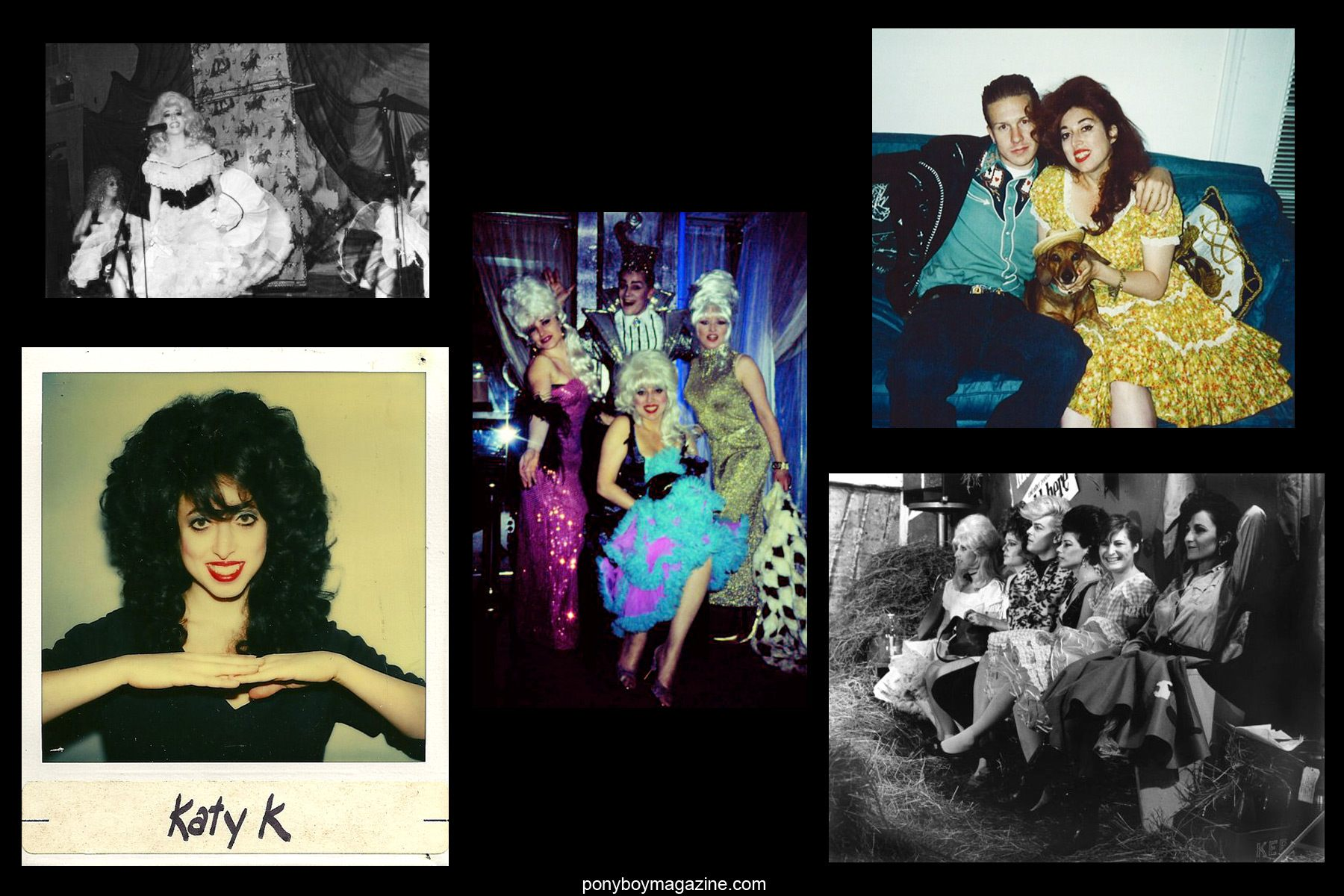 Assorted old photos of Katy K and John Sex for Ponyboy Magazine.