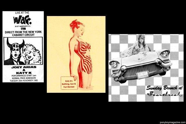 Old 80's nightclub flyers of Katy K and Joey Arias for Ponyboy Magazine.