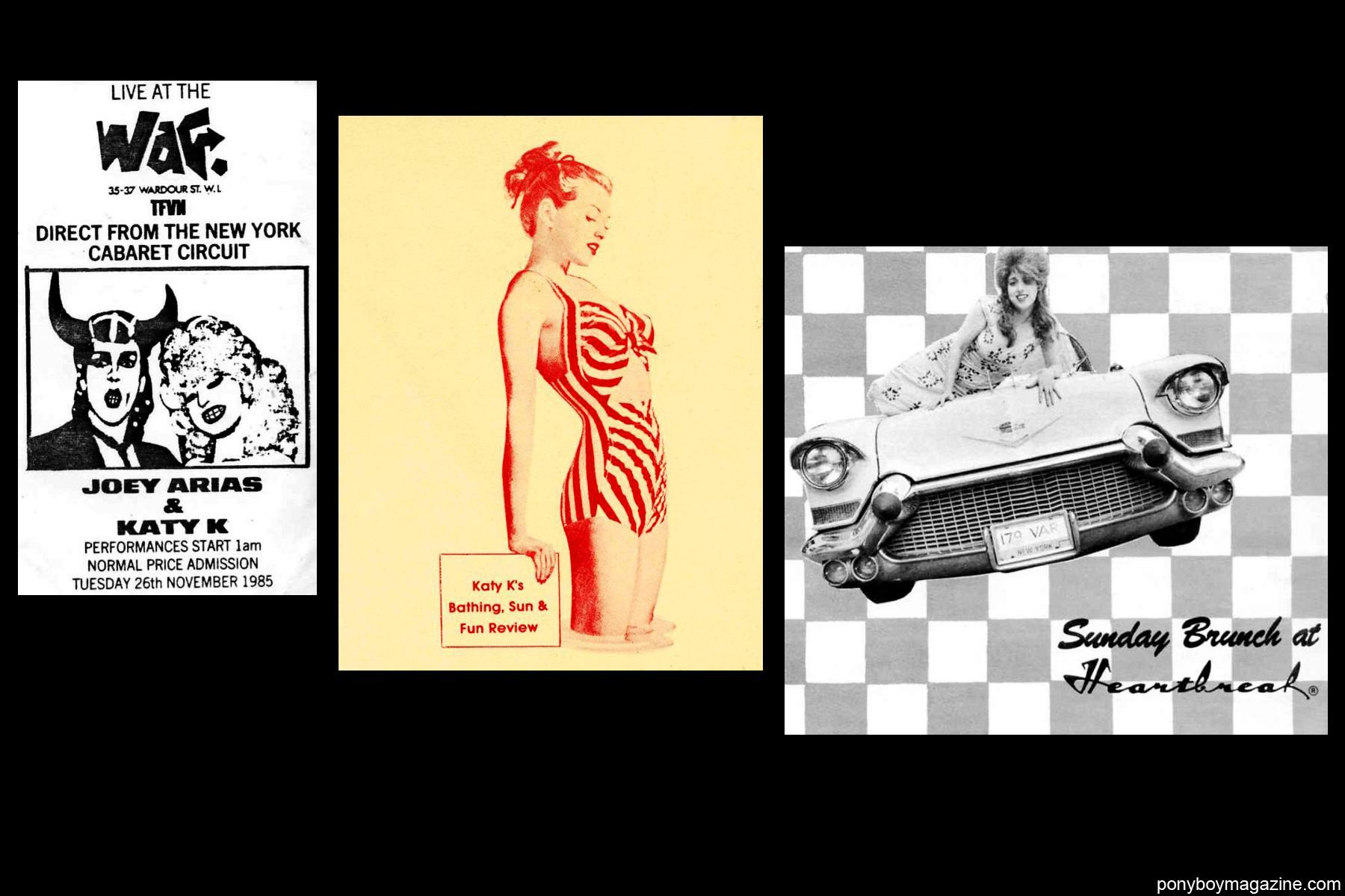 NYC 80's vintage flyers of performances for Katy K and Joey Arias, for Ponyboy Magazine.
