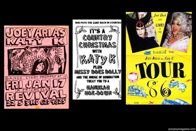 NYC nightclub flyers of Katy K and Joey Arias. Ponyboy Magazine.