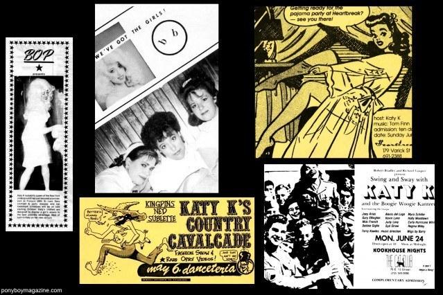Vintage 80's flyers of Katy K for Ponyboy Magazine.