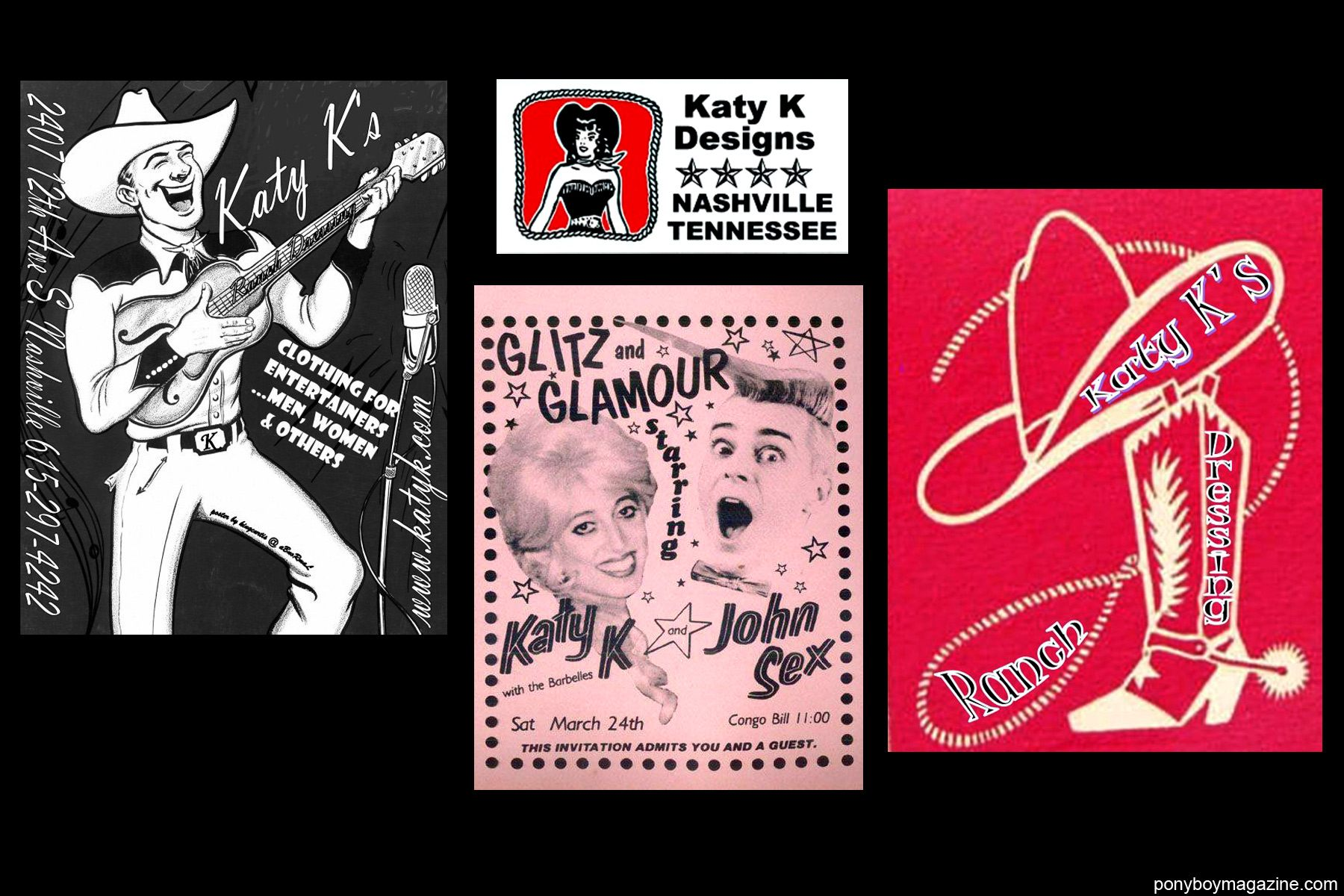 Old nightclub flyers of Katy K's performances for Ponyboy Magazine.