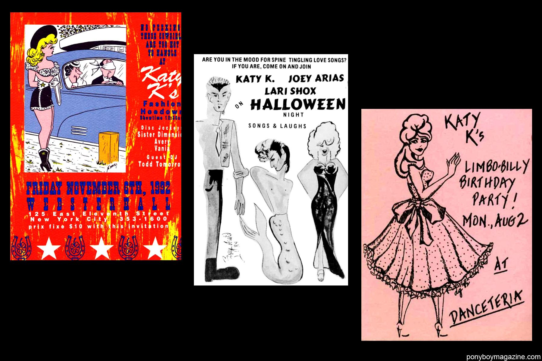 Old NYC nightclub flyers of Katy K and Joey Arias for Ponyboy Magazine.