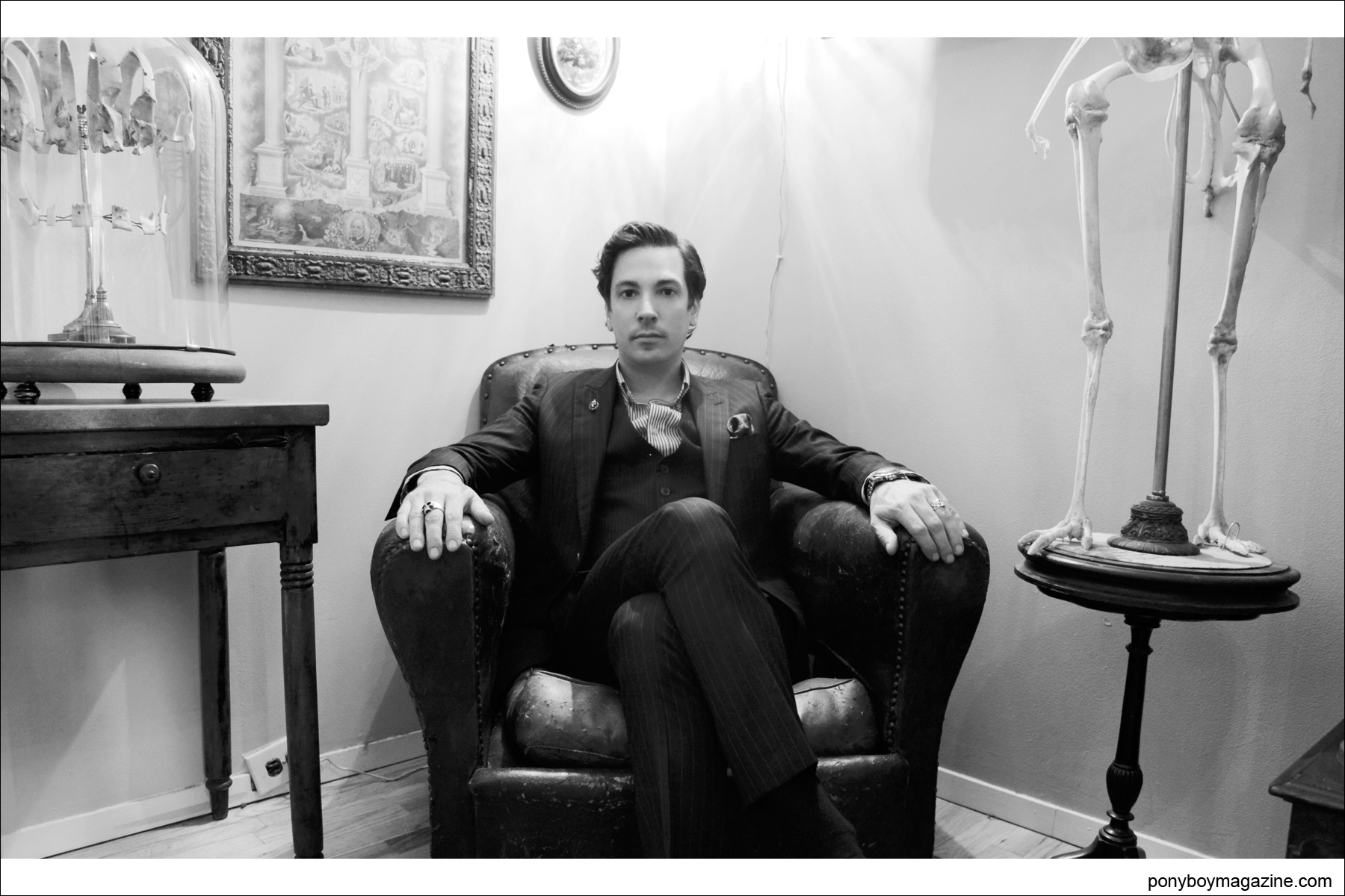 Star of Oddities Ryan Matthew Cohn photographed in his Brooklyn home by Alexander Thompson for Ponyboy Magazine.