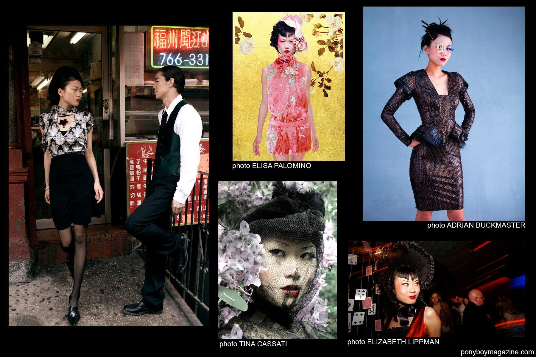 Collage of photos from Shien Lee's collection for Ponyboy Magazine.