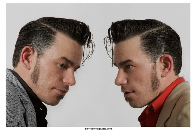 Headshots of rockabilly performer Cash O'Riley, photographed in Las Vegas at Viva Las Vegas by photographer Alexander Thompson for Ponyboy Magazine in New York City.