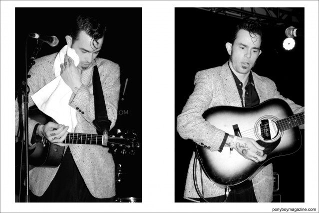 B&W photographs of rockabilly musician Cash O'Riley, photographed at Viva Las Vegas by photographer Alexander Thompson for Ponyboy Magazine in New York City.