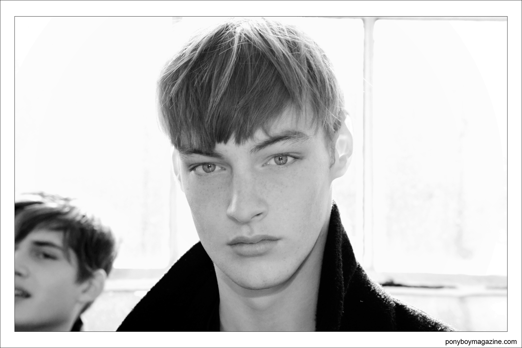 Male model backstage at the brilliant collection of Duckie Brown A/W 2014 show, photographed in New York City for Ponyboy Magazine.