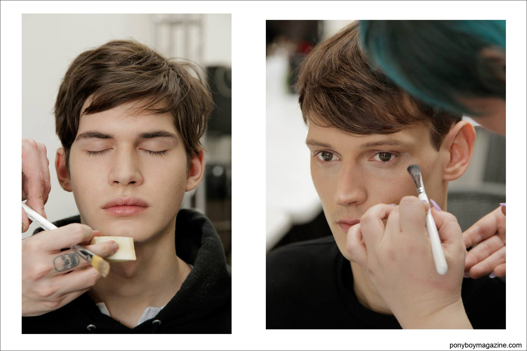 Obsessive Compulsive Cosmetics make-up team primp male models backstage before walking in the Duckie Brown A/W 2014 show. Photographed by Alexander Thompson for Ponyboy Magazine.