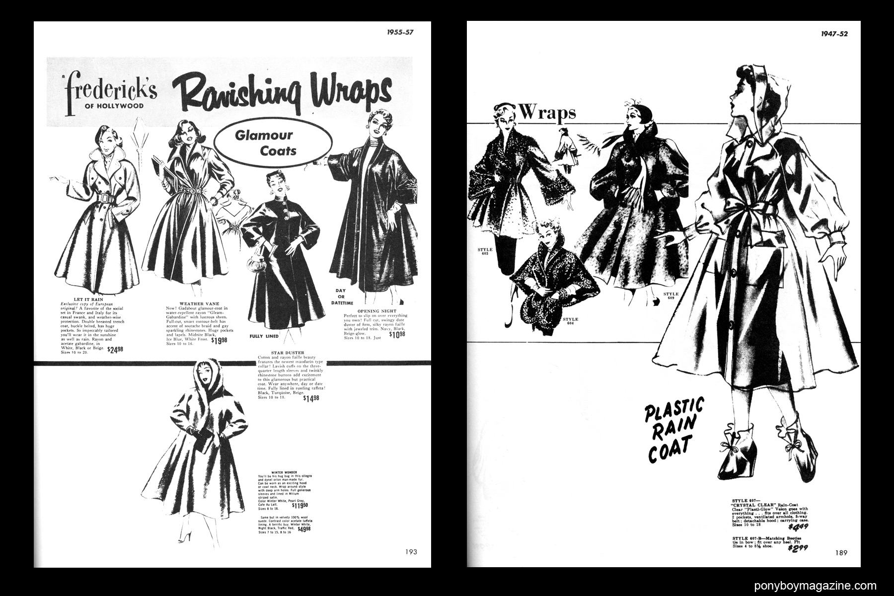 Women's vintage 50's wrap illustrations, FREDERICK'S OF HOLLYWOOD: 26 Years of Mail Order Seduction. Printed in 1973 by Drake Publishers. Edited by Laura & Janusz Gottwald, Ponyboy Magazine.