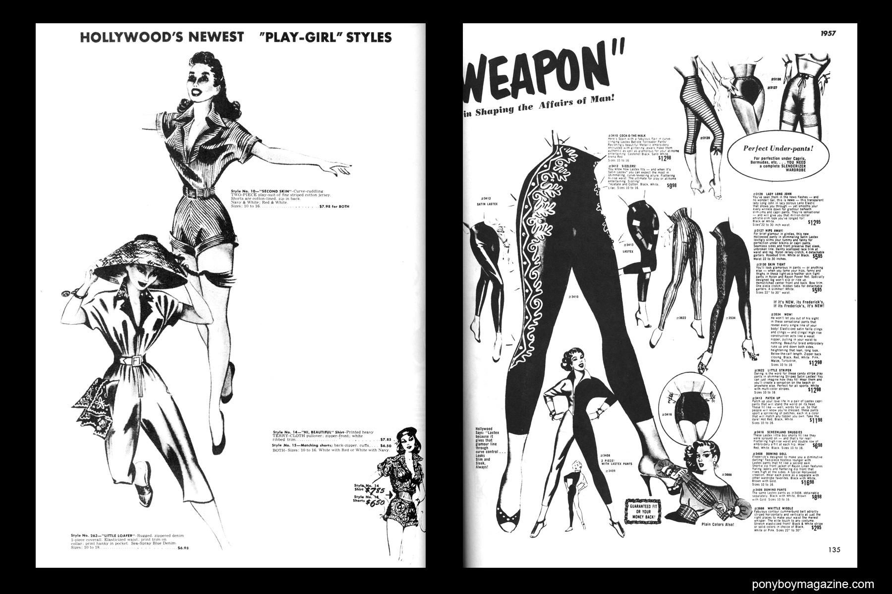 Vintage 1950's playsuit and capri pants illustrations, FREDERICK'S OF HOLLYWOOD: 26 Years of Mail Order Seduction. Printed in 1973 by Drake Publishers. Edited by Laura & Janusz Gottwald, Ponyboy Magazine NYC.