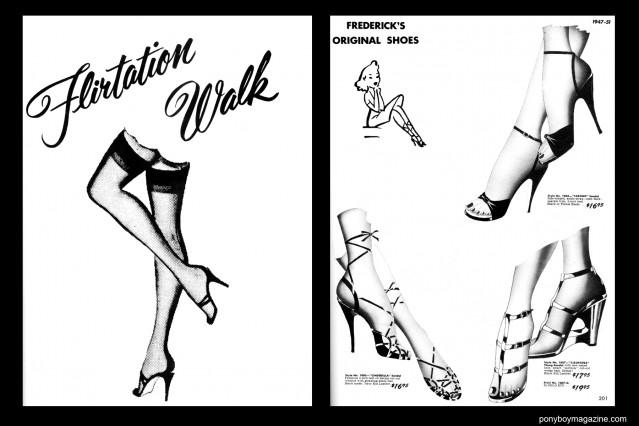Vintage illustrations of shoes from the 1940's in FREDERICK'S OF HOLLYWOOD: 26 Years of Mail Order Seduction. Printed in 1973 by Drake Publishers. Edited by Laura & Janusz Gottwald, Ponyboy Magazine.