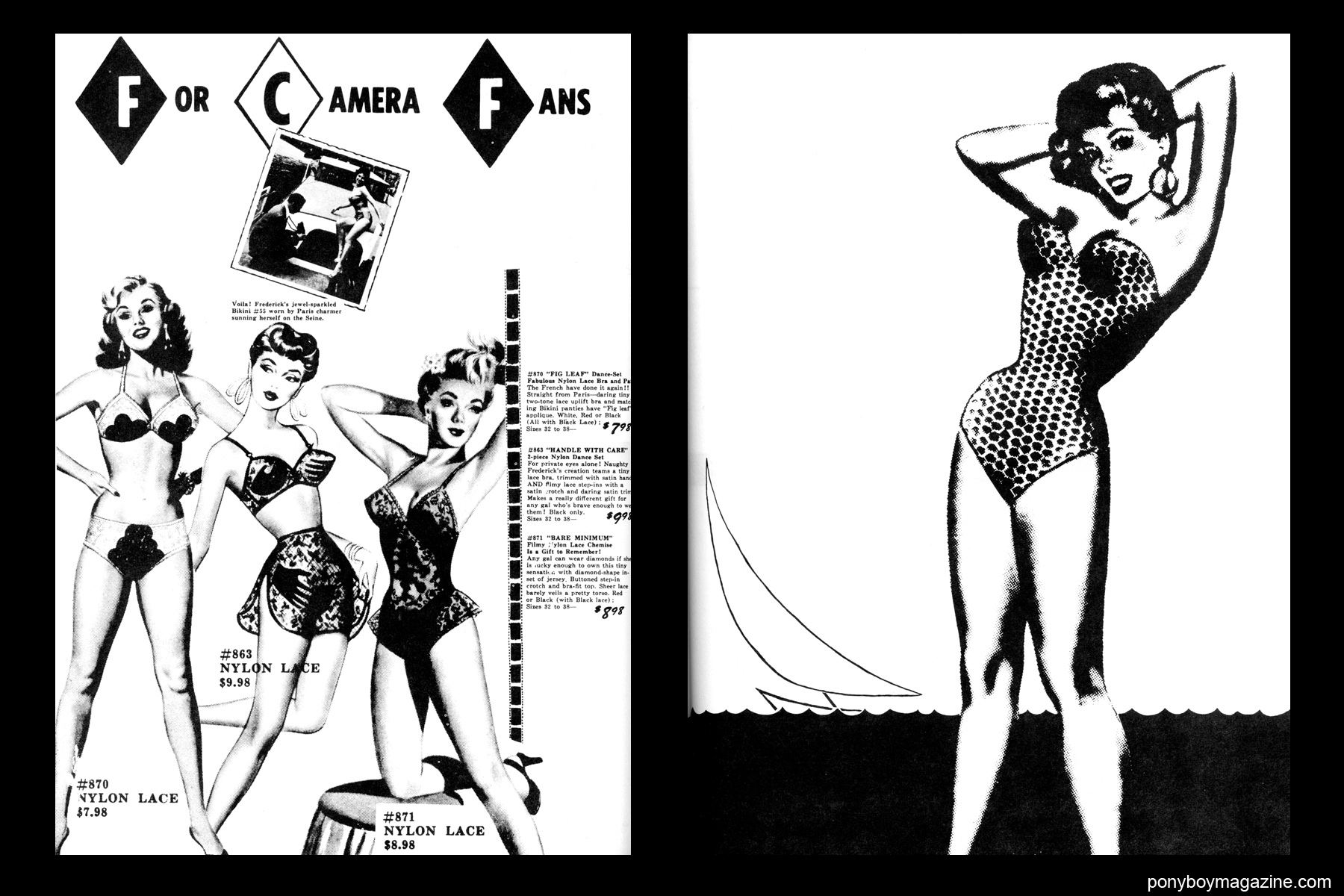1950's women's swimsuit illustrations, FREDERICK'S OF HOLLYWOOD: 26 Years of Mail Order Seduction. Printed in 1973 by Drake Publishers. Edited by Laura & Janusz Gottwald, Ponyboy Magazine from New York City.