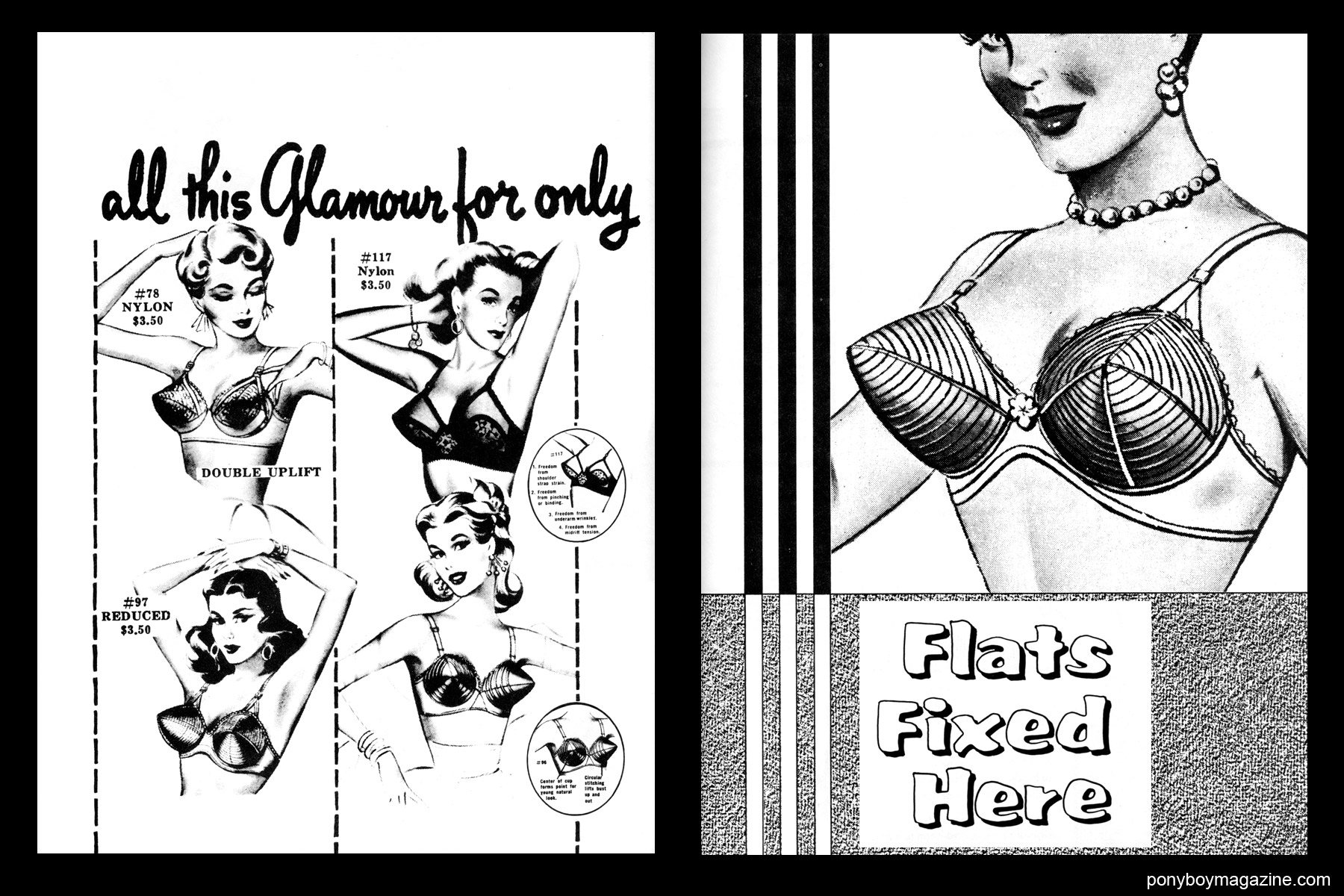 Vintage 50's bullet bra illustrations, FREDERICK'S OF HOLLYWOOD: 26 Years of Mail Order Seduction. Printed in 1973 by Drake Publishers. Edited by Laura & Janusz Gottwald, Ponyboy Magazine.