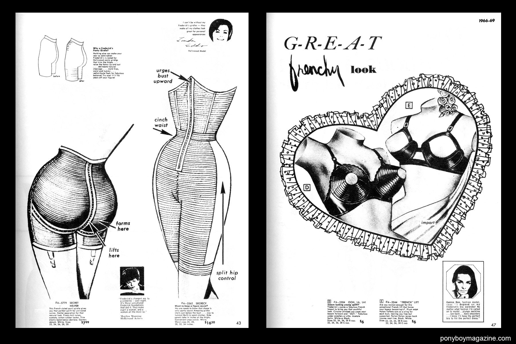 Sexy vintage bra illustrations, FREDERICK'S OF HOLLYWOOD: 26 Years of Mail Order Seduction. Printed in 1973 by Drake Publishers. Edited by Laura & Janusz Gottwald, Ponyboy Magazine New York City.