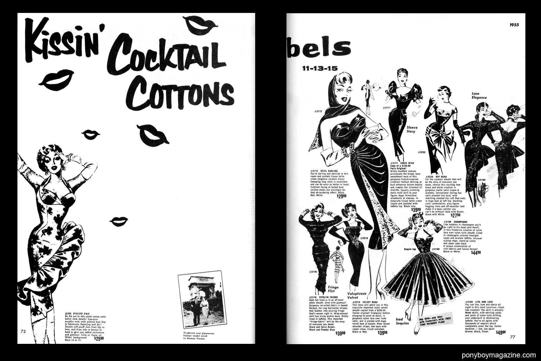 Glamorous vintage 1950's women's dress illustrations, FREDERICK'S OF HOLLYWOOD: 26 Years of Mail Order Seduction. Printed in 1973 by Drake Publishers. Edited by Laura & Janusz Gottwald, Ponyboy Magazine NYC.