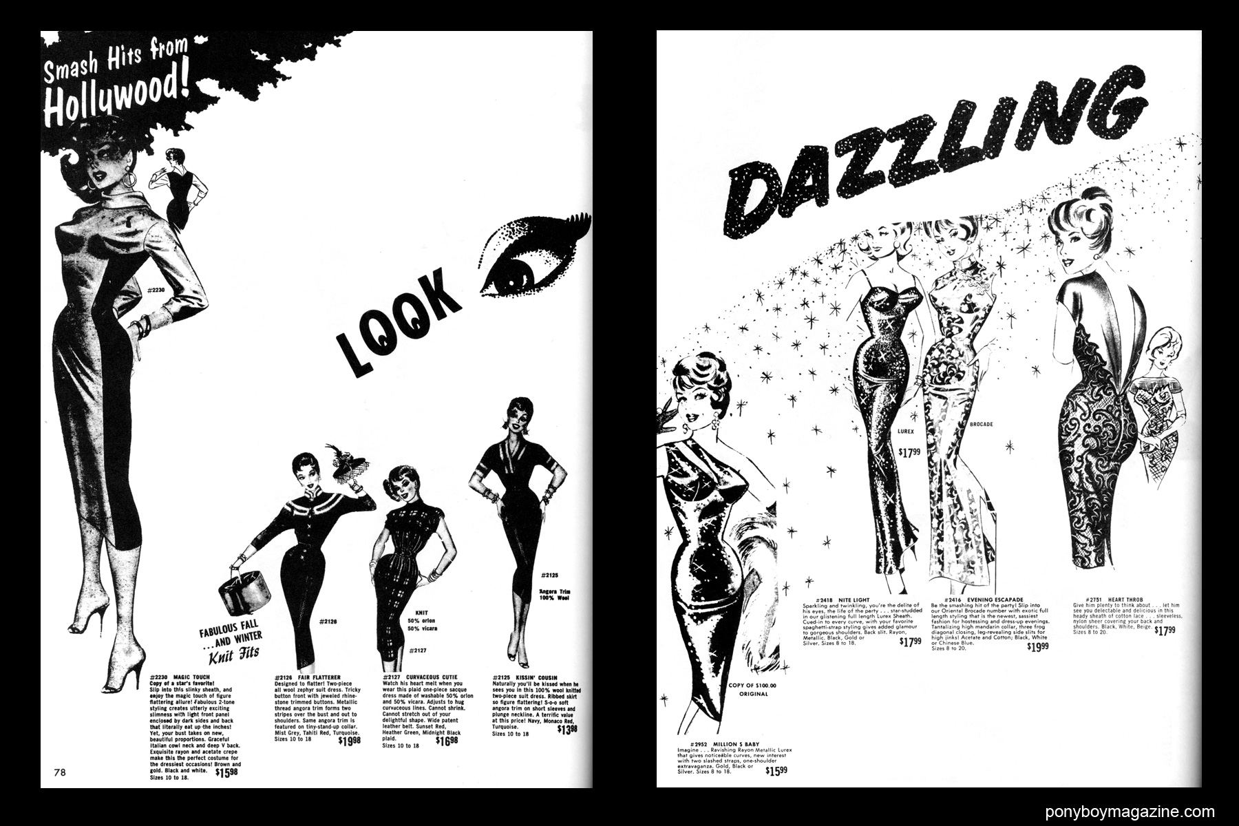 Sexy vintage 50's cocktail dresses, FREDERICK'S OF HOLLYWOOD: 26 Years of Mail Order Seduction. Printed in 1973 by Drake Publishers. Edited by Laura & Janusz Gottwald, Ponyboy Magazine.