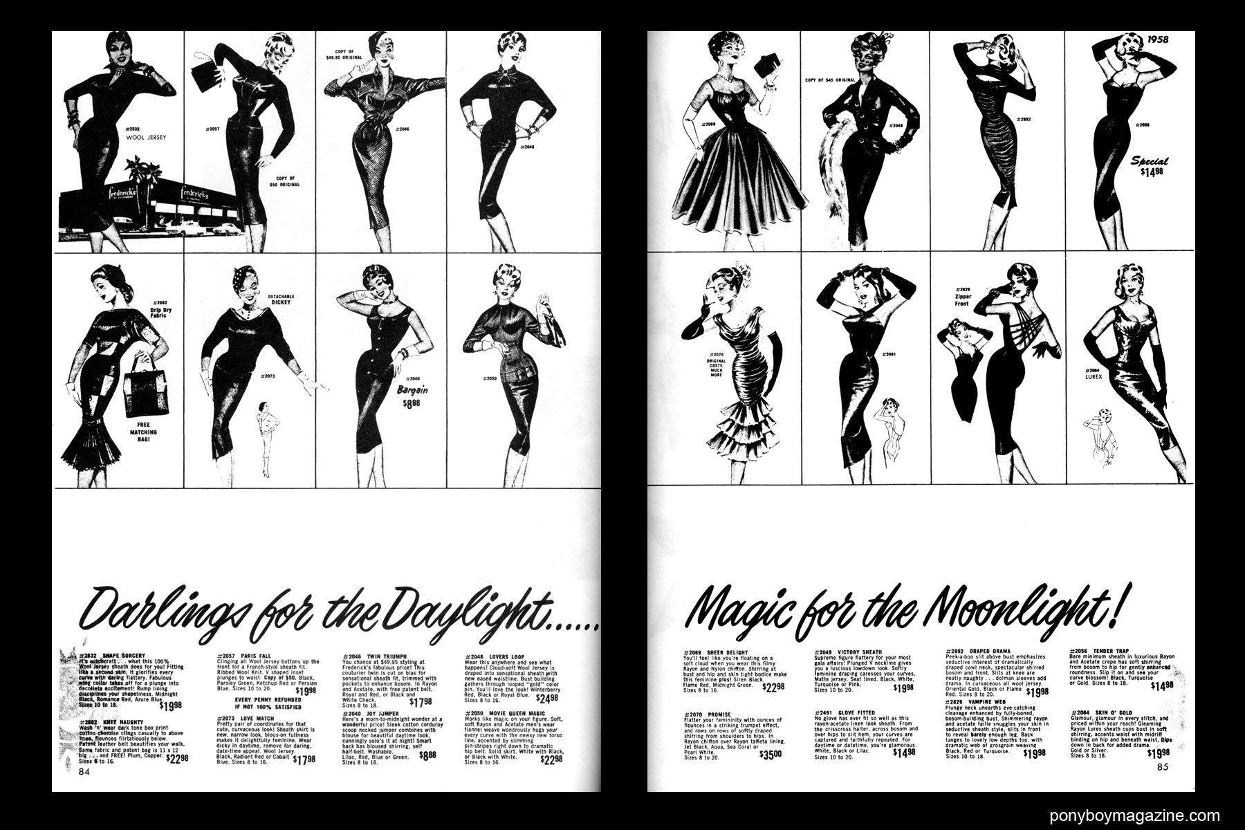 1950's vintage day and night dress illustrations, FREDERICK'S OF HOLLYWOOD: 26 Years of Mail Order Seduction. Printed in 1973 by Drake Publishers. Edited by Laura & Janusz Gottwald, Ponyboy Magazine from New York City.