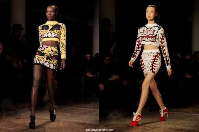 Graphic women's sweaters modeled on the runway at Jeremy Scott Autumn/Winter 2014 collection. Photographed for Ponyboy Magazine by Alexander Thompson in New York City.