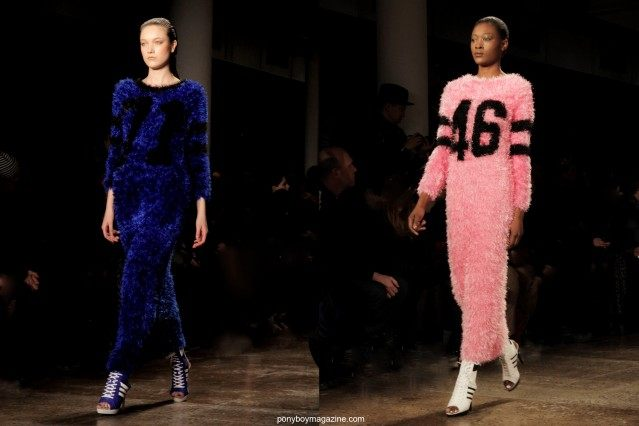 Chenille gowns worn on the runway by models at the Jeremy Scott A/W 2014 fashion show. Photographed in New York City for Ponyboy Magazine by Alexander Thompson.