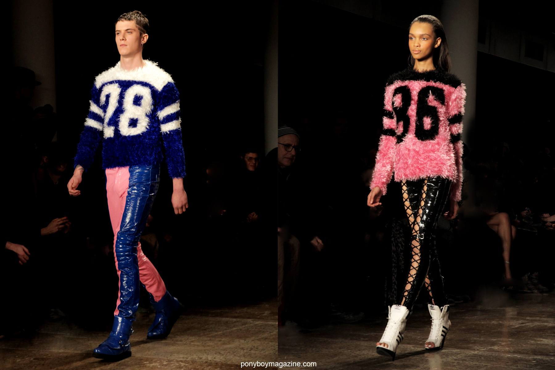 Models in fuzzy jerseys photographed at the Jeremy Scott A/W 2014 runway show by Alexander Thompson in New York City for Ponyboy Magazine.