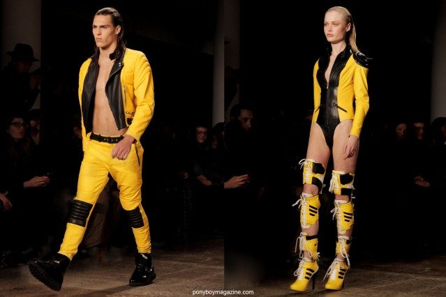 Futuristic men's and women's clothing at the Jeremy Scott A/W 2014 show, photographed at Milk Studios by Alexander Thompson for Ponyboy Magazine.