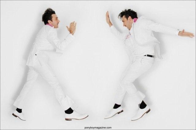 DJ Jonathan Toubin takes a jump for Ponyboy Magazine. Photographed in New York City for Ponyboy Magazine.