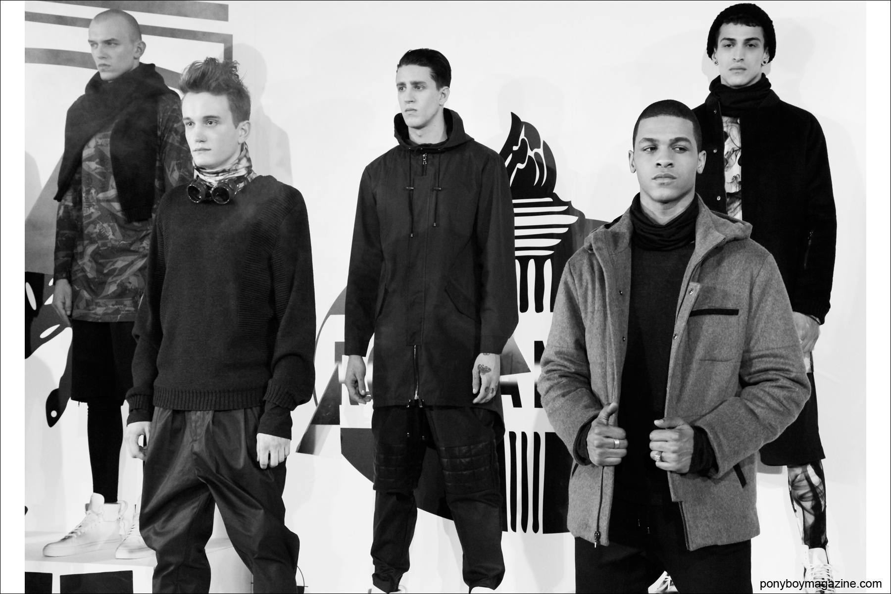 A group of male models at the presentation at Milk Studios for Rochambeau A/W 2014, photographed by Alexander Thompson in New York City for Ponyboy Magazine.