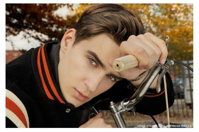 Male model Samuel Roberts from the Fusion Agency in New York City, modeling men's 1950's vintage ivy league style for a men's editorial, Ponyboy Magazine New York City.
