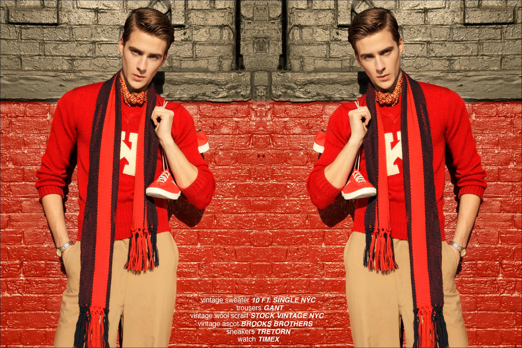 Samuel Roberts in a vintage letterman's sweater, modeling for Ponyboy Magazine in New York City, photographed by Alexander Thompson.