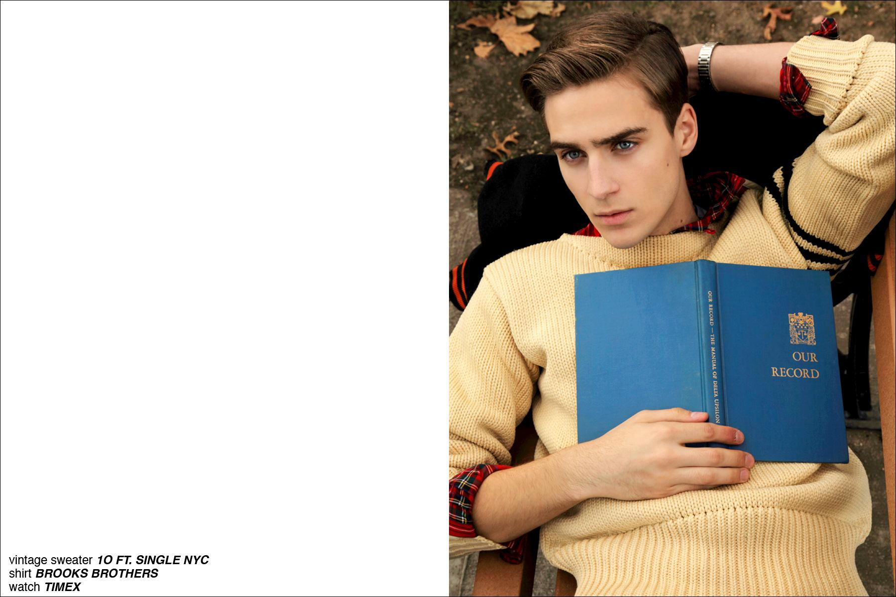 Samuel Roberts reclines on a park bench for Ponyboy Magazine's men's editorial