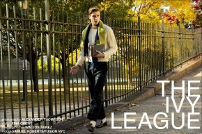 """Fusion model Samuel Roberts in """"The Ivy League"""" men's editorial for Ponyboy Magazine, photographed by Alexander Thompson in New York City."""