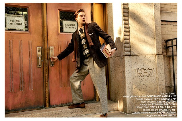 """Samuel Roberts from Fusion NYC starring in Ponyboy Magazine's men's editorial """"The Ivy League"""", photographed by Alexander Thompson in New York City."""