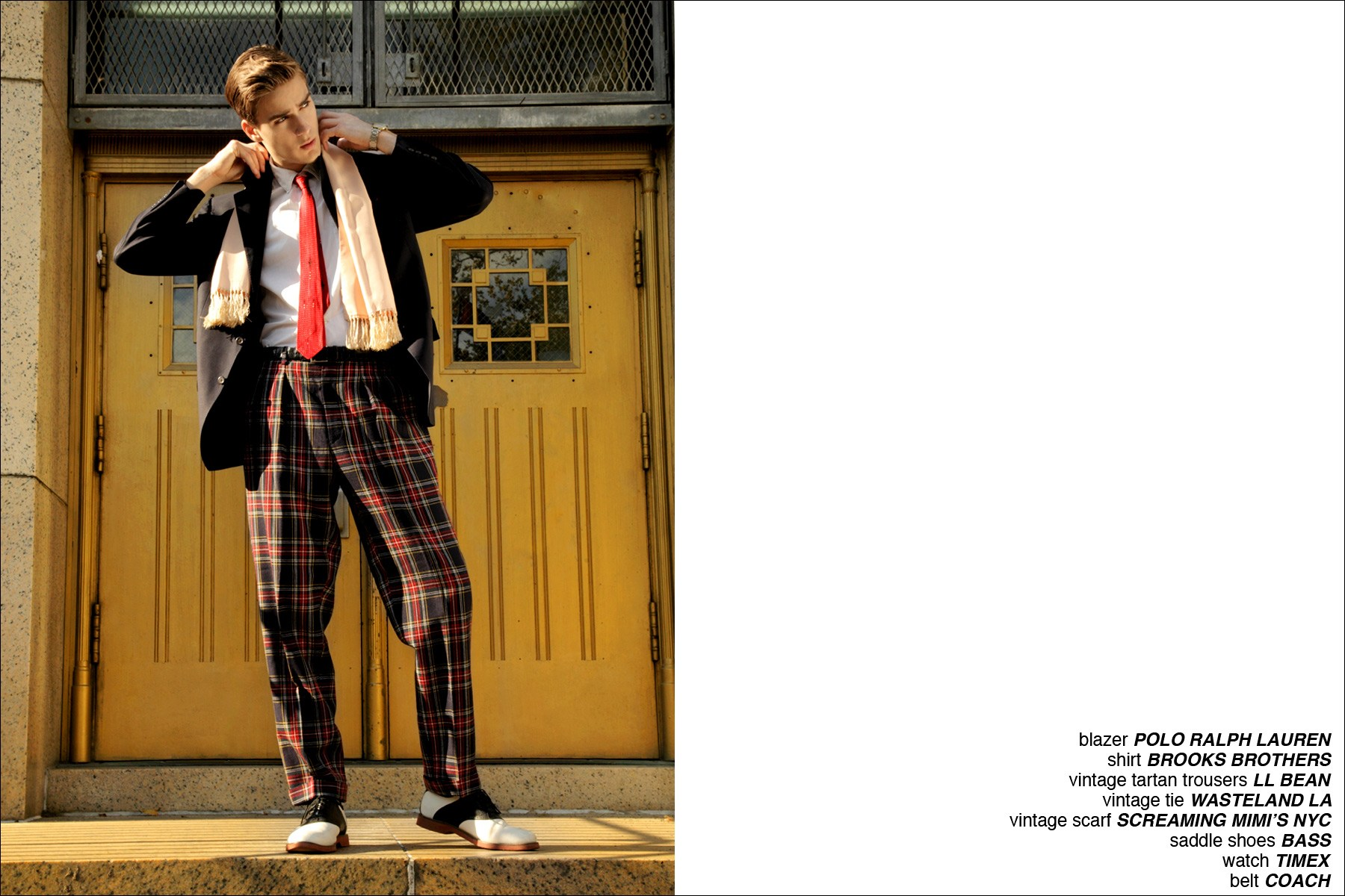 A sharply dressed Samuel Roberts modeling waspy clothing for a men's editorial for Ponyboy Magazine, photographed by Alexander Thompson.