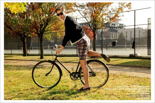 "Model Samuel Roberts on a vintage bicycle for the preppy men's editorial for Ponyboy Magazine ""The Ivy League"", photographed in New York City by Alexander Thompson."