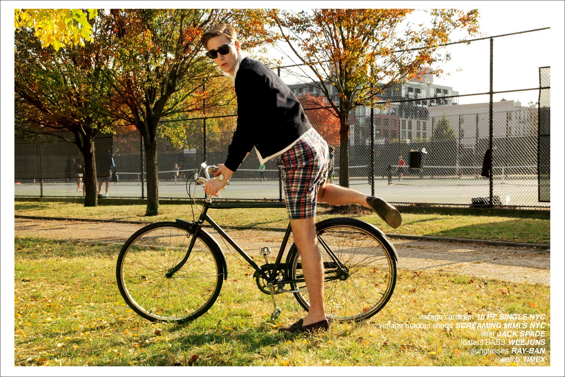 Model Samuel Roberts jumps on a vintage bicycle for Ponyboy Magazine's men's editorial
