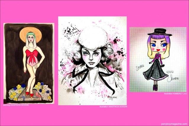 Illustrations of beautiful New York City model Stella Rose Saint Clair for Ponyboy Magazine.