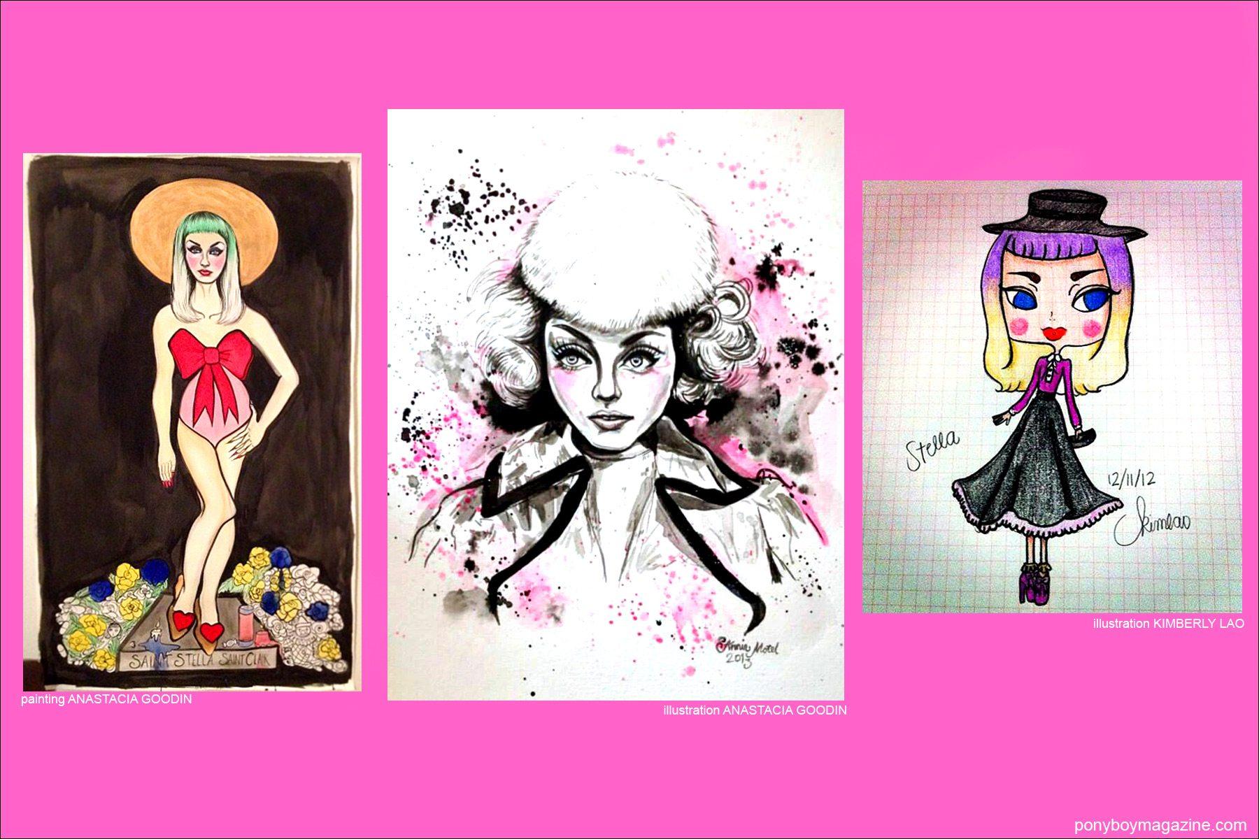 Artwork of model Stella Rose Saint Clair for Ponyboy Magazine New York City.