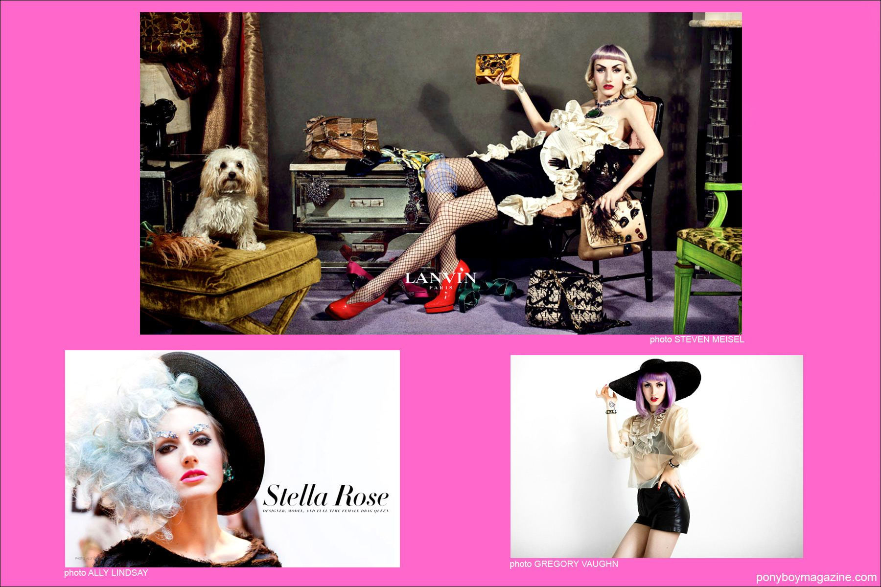 Images of model Stella Rose Saint Clair including a Lanvin ad photographed by Steven Meisel, Ponyboy Magazine New York City.