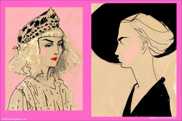 Illustrations of model Stella Rose Saint Clair by J. David McKenney for Ponyboy Magazine.