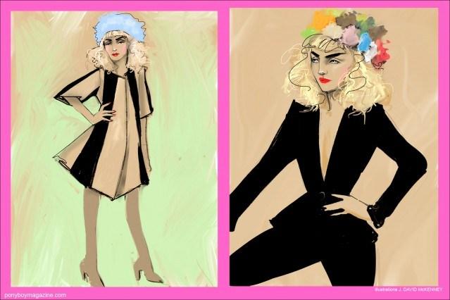 Illustrations by J. David McKenney of model Stella Rose Saint Clair for Ponyboy Magazine.